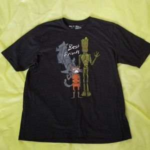 MARVEL X JUSTIN HARDER groot gray bff tee